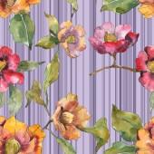 Fényképek Piros és narancssárga camellia virágok, levelek és a vonalak. Akvarell illusztráció készlet. Varratmentes háttérben