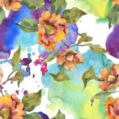 Fotografie Červené a oranžové camellia květiny s listy a abstraktní vzor. Sada akvarel ilustrace. Bezešvé pozadí.