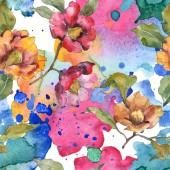 Červené a oranžové camellia květiny s listy a abstraktní vzor. Sada akvarel ilustrace. Bezešvé pozadí.