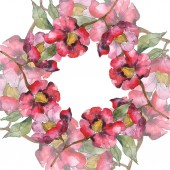Isolated red camellia flowers with green flowers. Watercolor illustration set. Frame border ornament with copy space.