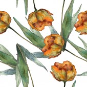 Oranžová, samostatný mák s listy. Sada akvarel ilustrace. Vzor bezešvé pozadí.