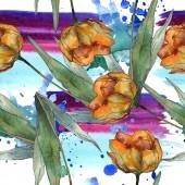 Orange máky s listy. Sada akvarel ilustrace. Vzor bezešvé pozadí.