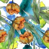 Narancssárga Pipacsok levelekkel. Akvarell illusztráció készlet. Varratmentes háttérben minta.