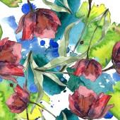 Červené a vínové mák s listy. Sada akvarel ilustrace. Vzor bezešvé pozadí.