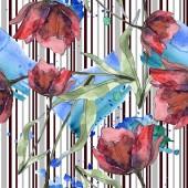 Bordó-piros Pipacsok levelek és vonalak. Akvarell illusztráció készlet. Varratmentes háttérben minta.