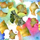 Fotografie Yellow and green ginkgo biloba foliage watercolor illustration. Seamless background pattern.