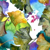 Yellow and green ginkgo biloba foliage watercolor illustration. Seamless background pattern.