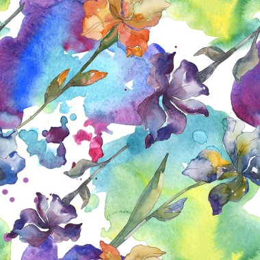 Purple, red, orange and blue irises floral botanical flower. Watercolor background set. Watercolour drawing fashion aquarelle. Seamless background pattern. Fabric wallpaper print texture. stock vector