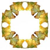 Sada žlutá ginkgo biloba listoví akvarel pozadí obrázku. Frame hranice ornament se kopie prostoru.