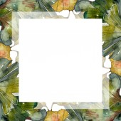 grüne Ginkgo biloba Laub Aquarell Illustrationsset. Rahmen-Bordüre mit Kopierraum.