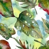 Exotické tropické zelené palmové listy. Akvarel, ilustrace bezešvé pozadí.