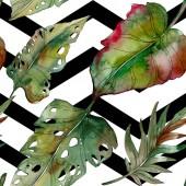 Exotické tropické zelené palmové listy s černými čarami. Akvarel, ilustrace bezešvé pozadí.