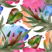 Fotografie Exotic tropical green palm leaves. Watercolor illustration seamless background.