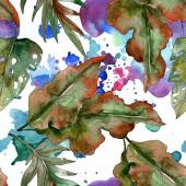 Exotické tropické zelené palmové listy. Akvarel, ilustrace bezešvé pozadí