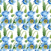 Fotografie Blue poppies with leaves and buds seamless background. Watercolor illustration set.