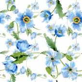 Fényképek Blue poppies, leaves and buds seamless background. Watercolor illustration set.