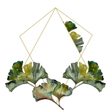 Green ginkgo biloba foliage watercolor illustration set.  Frame border ornament with copy space. stock vector