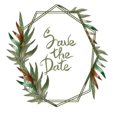 Exotic tropical green palm leaves watercolor illustration with save the date lettering.