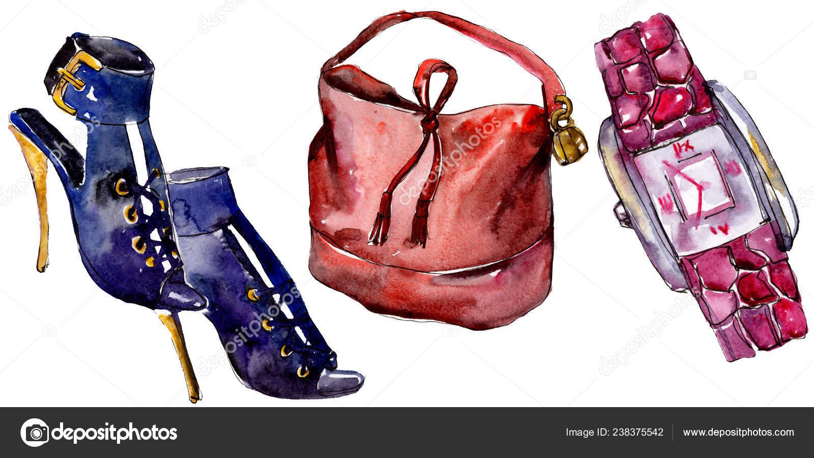 323a79b0691 Обувь Часы Мешок Эскиз Иллюстрация Гламур Моды Стиле Акварели Изолированы–  Стоковое изображение