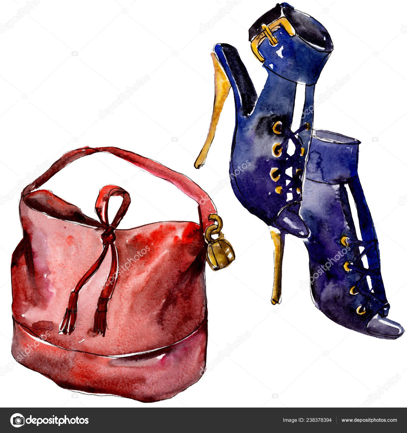 4ff15344d92 Сумки Обувь Эскиз Иллюстрация Гламур Моды Стиле Акварели Изолированы  Акварель — стоковое фото