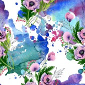 Photo Pink and purple poppies watercolor illustration set. Seamless background pattern. Fabric wallpaper print texture.