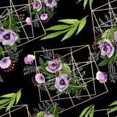 Fotografie Růžové a fialové máků sada akvarel ilustrace. Vzor bezešvé pozadí. Fabric tapety tisku textura