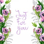 Fotografie Pink and purple poppies isolated on white. Watercolor background illustration set. Frame border ornament with inscription.