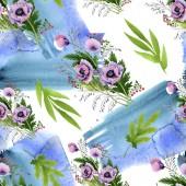 Fotografie Růžové a fialové máků sada akvarel ilustrace. Vzor bezešvé pozadí. Fabric tapety tisku textura.