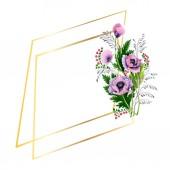 Fényképek Rózsaszín és lila Pipacsok elszigetelt fehér. Akvarell háttér illusztráció készlet. Test határ dísz a másol hely