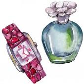 Parfém a hodinky skica módní glamour ilustrace ve stylu akvarelu, samostatný. Vogue módní oblečení sada akvarel oblečení příslušenství. Aquarelle módní skica pro pozadí, textury