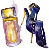 Parfém a boty skica módní glamour obrázek ve stylu akvarelu, samostatný. Vogue módní oblečení sada akvarel oblečení příslušenství. Aquarelle módní skica pro pozadí, textury