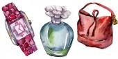 Parfém, hodinky a tašky skica módní glamour obrázek ve stylu akvarelu, samostatný. Vogue módní oblečení sada akvarel oblečení příslušenství. Aquarelle módní skica pro pozadí, textury