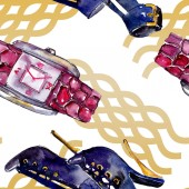 Photo Parfume, watch, shoes and bag sketch fashion glamour illustration in a watercolor style. Watercolour clothes accessories set trendy vogue outfit. Aquarelle fashion sketch for seamless pattern.