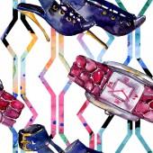 Fotografie Parfém, hodinky, obuv a pytel skica módní glamour obrázek ve stylu akvarelu. Vogue módní oblečení sada akvarel oblečení příslušenství. Aquarelle módní skica pro vzor bezešvé