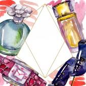 Parfém, hodinky, obuv a pytel skica módní glamour obrázek ve stylu akvarelu. Vogue módní oblečení sada akvarel oblečení příslušenství. Aquarelle skica pro pozadí, rám nebo hranice