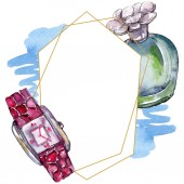 Photo Parfume, watch, shoes and bag sketch fashion glamour illustration in a watercolor style. Watercolour clothes accessories set trendy vogue outfit. Aquarelle sketch for background, frame or border.