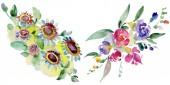 Kytice květinové botanické květin. Divoký jarní listové wildflower izolován. Sada akvarel pozadí obrázku. Akvarel, samostatný výkresu módní aquarelle. Prvek ilustrace izolované kytice