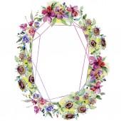 Fotografie Kytice květinové botanické květin. Divoký jarní listové wildflower izolován. Sada akvarel pozadí obrázku. Akvarel, samostatný výkresu módní aquarelle. Frame hranice ozdoba náměstí