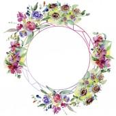 Kytice květinové botanické květin. Divoký jarní listové wildflower izolován. Sada akvarel pozadí obrázku. Akvarel, samostatný výkresu módní aquarelle. Frame hranice ozdoba náměstí