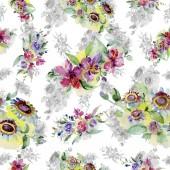 Fotografie Kytice květinové botanické květin. Divoký jarní listové izolované. Sada akvarel pozadí obrázku. Akvarel výkresu módní aquarelle. Vzor bezešvé pozadí. Fabric tapety tisku textura
