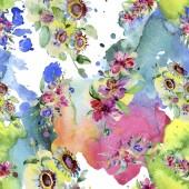 Fotografie Blumensträuße botanische Blume. wildes Frühlingsblatt isoliert. Aquarell Hintergrundillustration Set. Aquarell zeichnen Mode-Aquarell. nahtlose Hintergrundmuster. Stoff Tapete drucken Textur.