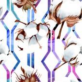 Bavlny květinové botanické květin. Divoký jarní listové izolované. Sada akvarel ilustrace. Akvarel, samostatný výkresu módní aquarelle. Vzor bezešvé pozadí. Fabric tapety tisku textura
