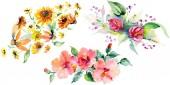 Červené, žluté a oranžové květinové botanické květin kytice. Divoký jarní listové izolované. Sada akvarel zázemí. Akvarel výkresu módní aquarelle. Prvek ilustrace izolované kytice.