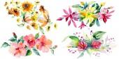 Piros, sárga és narancs virág botanikai virág csokrok. Vad tavaszi levél elszigetelt. Akvarell háttér beállítása. Akvarell rajz divat aquarelle. Elszigetelt csokor ábra elem