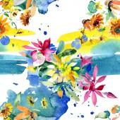 Fényképek Piros, sárga és narancs virág botanikai virág csokrok. Akvarell háttér illusztráció készlet. Akvarell, rajz aquarelle. Varratmentes háttérben minta. Anyagot a nyomtatási textúrát