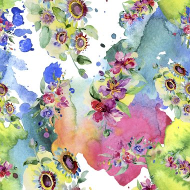 Bouquets floral botanical flower. Wild spring leaf isolated. Watercolor background illustration set. Watercolour drawing fashion aquarelle. Seamless background pattern. Fabric wallpaper print texture. stock vector