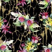 Piros, sárga és narancs virág botanikai virág csokrok. Akvarell háttér illusztráció készlet. Akvarell, rajz aquarelle. Varratmentes háttérben minta. Anyagot a nyomtatási textúrát
