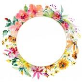 Fényképek Piros, sárga és narancs virág botanikai virág csokrok. Vad tavaszi levél elszigetelt. Akvarell háttér illusztráció készlet. Akvarell rajz divat aquarelle. Test határ Dísz tér