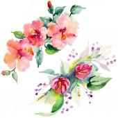 Piros, sárga és narancs virág botanikai virág csokrok. Vad tavaszi levél elszigetelt. Akvarell háttér beállítása. Akvarell rajz divat aquarelle. Elszigetelt csokor ábra elem.
