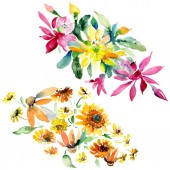 Red, yellow and orange floral botanical flower bouquets. Wild spring leaf isolated. Watercolor background set. Watercolour drawing fashion aquarelle. Isolated bouquet illustration element.